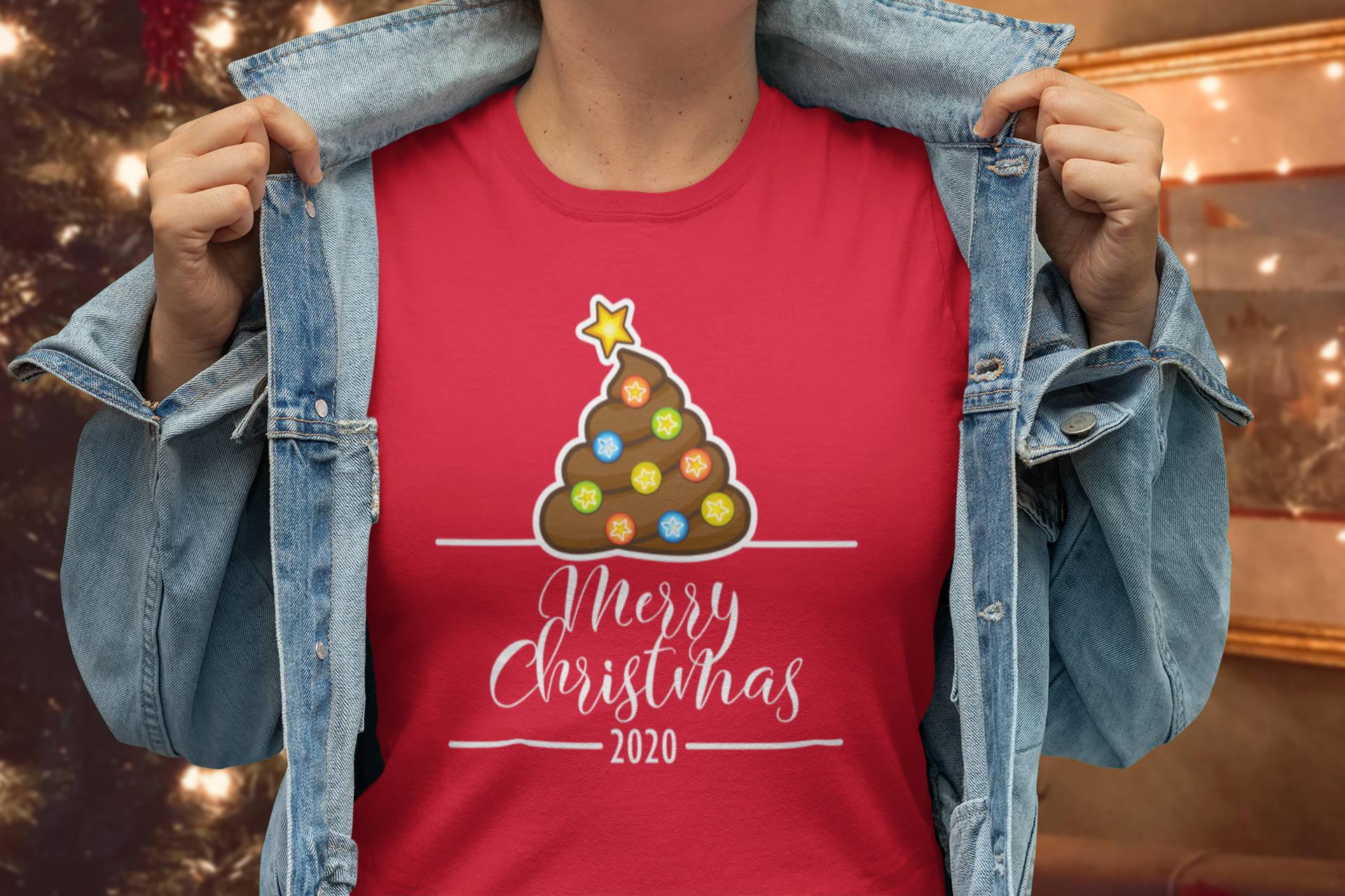Christmas 2020 poop emoji tree t-shirt on model