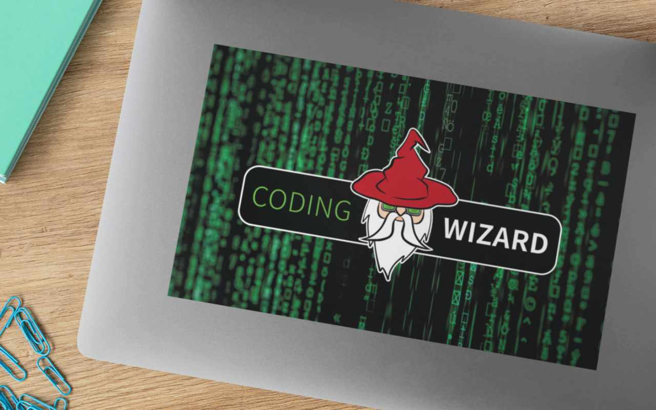 Coding Wizard Laptop Sticker