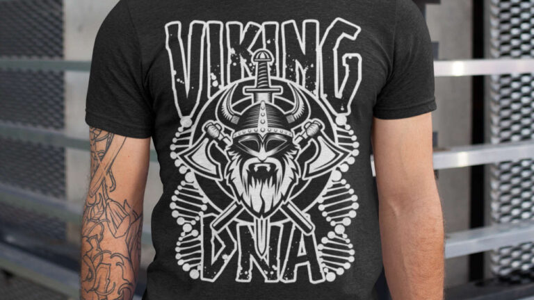Viking DNA. Viking ancestry design with axe, sword and shield with DNA strands