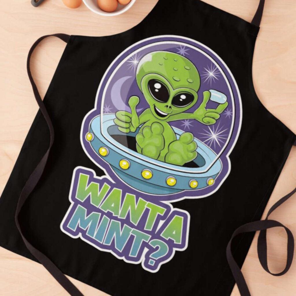 alien tic tac want a mint design apron