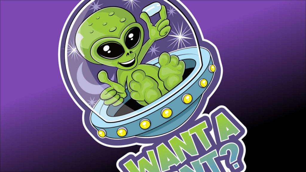 Cute alien in a flying saucer offering mints design