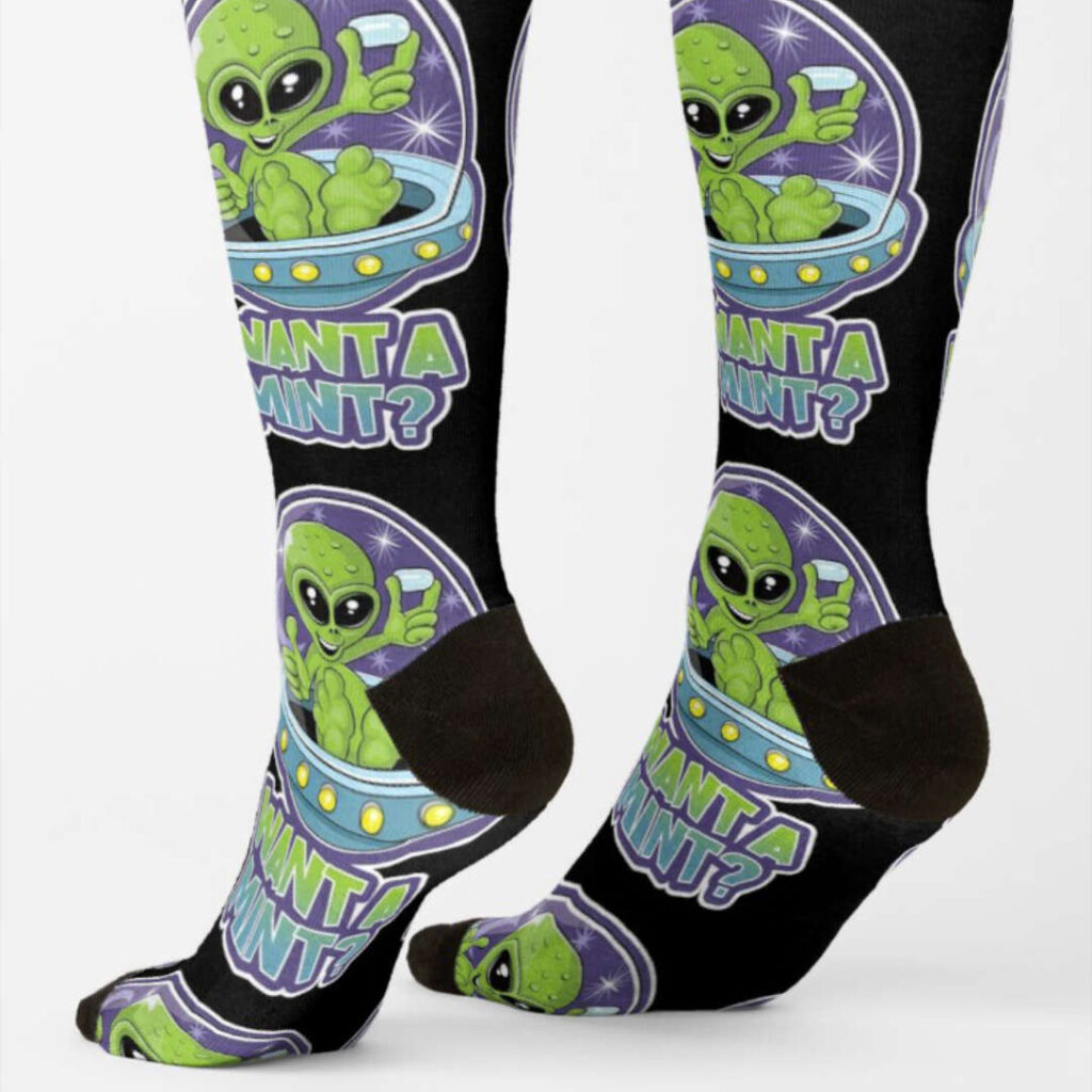 alien tic tac want a mint design socks