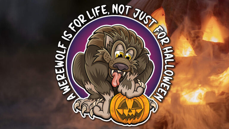 A werewolf is for life, not just for Halloween. Cartoon werewolf with pumpkin design